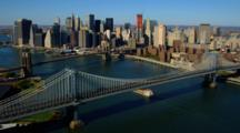 Aerial Of Manhattan And Brooklyn Bridges And Manhattan Skyline