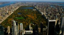 Aerial Of Central Park And The Manhattan Skyline