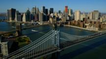 Aerial Of Manhattan And Brooklyn Bridges And Manhattan Skyline
