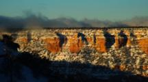 Overlook View Grand Canyon Lit By Sunrise, Dusted By Light Snow