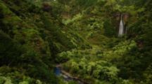 Aerial Manawaiopuna Or Jurassic Falls On Kauai