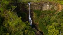 Aerial Kahili Or Five Sisters Falls On Kauai