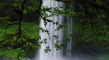Waterfall Behind Trees In Temperate Forest, Creates Mist