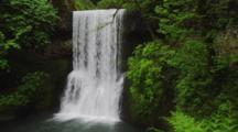 Waterfall Cascades In Temperate Forest