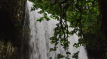 Top Of  Cascading Waterfall In Temperate Forest