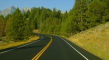 POV Driving Down Highway In Grand Teton