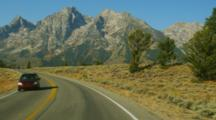 POV Driving Down Highway In Grand Teton