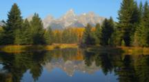 Teton Peaks And Fall Trees Reflected In Water At Schwabacher Landing