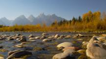 Camera At Stream Level With Teton Mountains