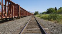 Train Tracks With Train Cars