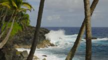 Waves Crashing On Rugged Coast, View Between Palm Trees