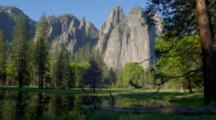 Cathedral Rocks Reflection In Merced River
