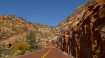 POV Driving On Zion National Park Road