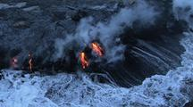 Aerial View Of Molten Lava Runs Into Ocean, Hawaii Coastline