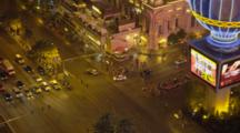 Overlook Of Las Vegas Strip Crowded With Cars And People