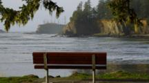 Park Bench Above Shore, Oregon Coast