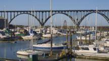 Harbor In Yaquina Bay And Conde B. Mccullough Bridge, Newport Oregon