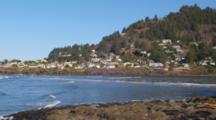 Looking Across Water At Coastal Town Of Yachats, Oregon