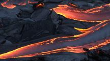 Aerial View Of Molten Lava Flowing From Volcano