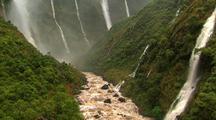Aerial View Of Steep Canyons And Many Waterfalls, Hawaii