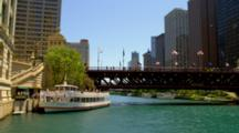 View Of Michigan Avenue Bridge And Skyline In Chicago