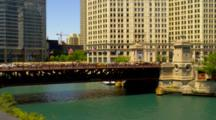 Overlook View Of Michigan Avenue Bridge Over River In Chicago