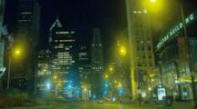 POV Driving At Night Down Michigan Avenue in Chicago