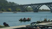 Recreational Boating Near Rogue River Bridge, Gold Beach, Oregon