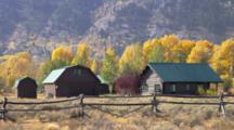 Fall Tree Scenics, Barns And Fence, Near Moose Junction