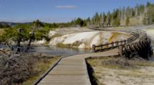People Walk On Boardwalk Path In Old Faithful Hot Springs Area, Yellowstone