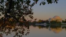Jefferson Memorial Reflected In River, Golden Light Of Sunset, Washington Dc