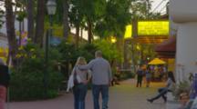 Shoppers On Sidewalk, State Street In Evening, Santa Barbara