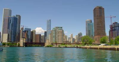 POV Travel on Chicago River,Approaching Trump Building
