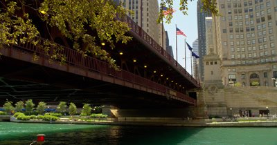 Bridge Over Chicago River,Tilt for View of Skyscrapers