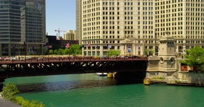 Pedestrians Cross Bridge Over Chicago River,Possibly Michigan Avenue