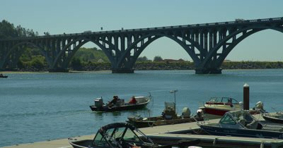 Recreational Fishing Boats Near Rogue River Bridge,Gold Beach,Oregon