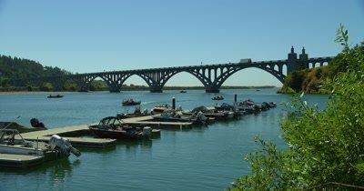 Dock,Recreational Fishing Boats Near Rogue River Bridge,Gold Beach,Oregon