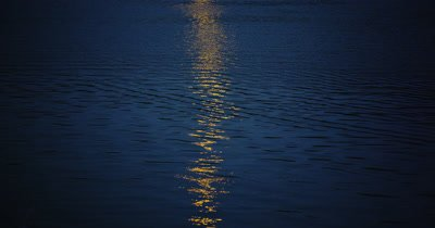 Close Up,Full Moon Reflection in Rippled Water