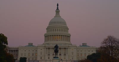 US Capital Building With Pink Sunset Sky,Washington Dc