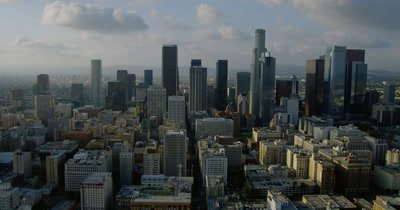 Aerial Over Los Angeles with View of Downtown Skyline