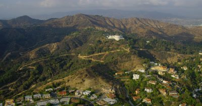Aerial Over Los Angeles Area,Mansion in Hollywood Hills