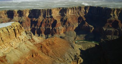 Aerial Over Grand Canyon with dusting of Snow,View of Colorado River