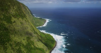Aerial Over Big Island of Hawaii,Near Waipi'o Valley