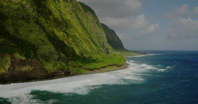 Aerial Over Big Island of Hawaii,Near Waipi'o Valley