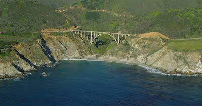 Aerial Over Big Sur California Coast,highway 1 and Bixby Bridge