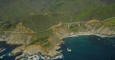 Aerial Over Big Sur California Coast and Bixby Bridge