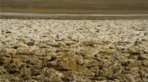 Close Up, Salt Flats In Death Valley With Mountains Behind