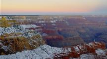 Overlook View Grand Canyon Dusted With Light Snow