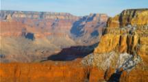 Overlook View, Sunset At Grand Canyon South Rim Creates Deep Shadows