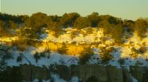 Panoramic View Grand Canyon Rim Dusted With Light Snow